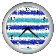 Metallic Blue Glitter Stripes Wall Clocks (Silver)