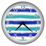 Metallic Blue Glitter Stripes Wall Clocks (Silver)  Front
