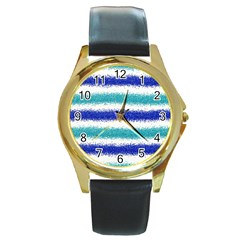 Metallic Blue Glitter Stripes Round Gold Metal Watch