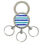 Metallic Blue Glitter Stripes 3-Ring Key Chains Front