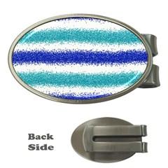 Metallic Blue Glitter Stripes Money Clips (Oval)