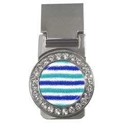 Metallic Blue Glitter Stripes Money Clips (CZ)