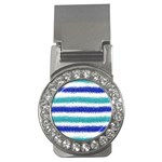 Metallic Blue Glitter Stripes Money Clips (CZ)  Front