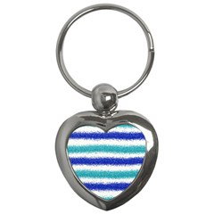 Metallic Blue Glitter Stripes Key Chains (Heart)