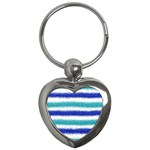 Metallic Blue Glitter Stripes Key Chains (Heart)  Front