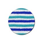 Metallic Blue Glitter Stripes Rubber Coaster (Round)  Front