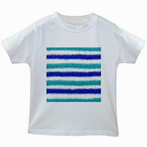 Metallic Blue Glitter Stripes Kids White T-Shirts