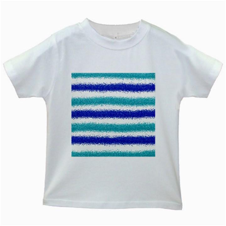 Metallic Blue Glitter Stripes Kids White T-Shirts