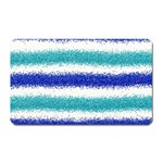 Metallic Blue Glitter Stripes Magnet (Rectangular) Front