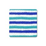 Metallic Blue Glitter Stripes Square Magnet Front