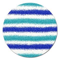 Metallic Blue Glitter Stripes Magnet 5  (Round)