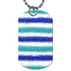 Metallic Blue Glitter Stripes Dog Tag (One Side)