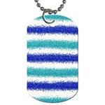 Metallic Blue Glitter Stripes Dog Tag (Two Sides) Front