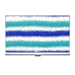 Metallic Blue Glitter Stripes Business Card Holders Front