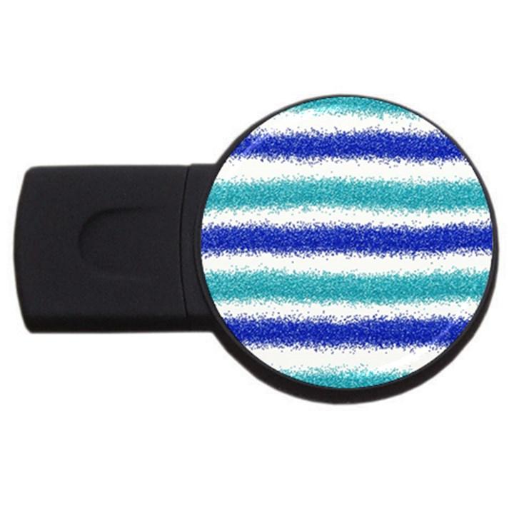 Metallic Blue Glitter Stripes USB Flash Drive Round (1 GB)
