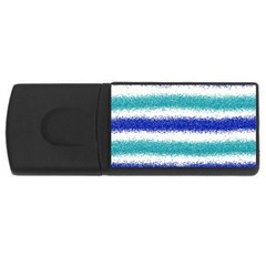 Metallic Blue Glitter Stripes USB Flash Drive Rectangular (1 GB)