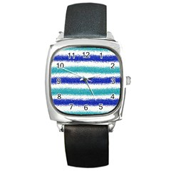Metallic Blue Glitter Stripes Square Metal Watch