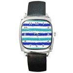Metallic Blue Glitter Stripes Square Metal Watch Front