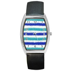 Metallic Blue Glitter Stripes Barrel Style Metal Watch