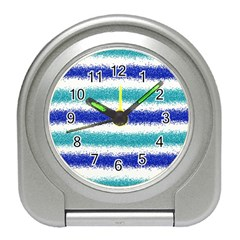 Metallic Blue Glitter Stripes Travel Alarm Clocks