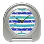 Metallic Blue Glitter Stripes Travel Alarm Clocks Front