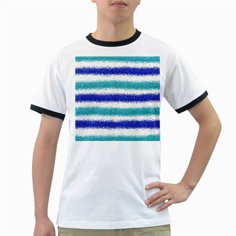 Metallic Blue Glitter Stripes Ringer T-Shirts