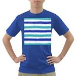 Metallic Blue Glitter Stripes Dark T-Shirt Front