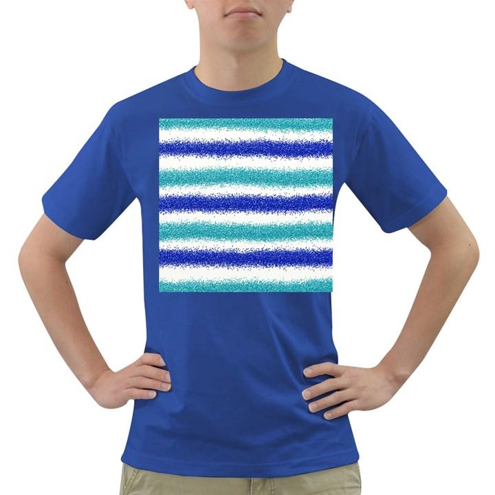 Metallic Blue Glitter Stripes Dark T-Shirt
