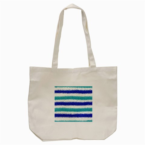 Metallic Blue Glitter Stripes Tote Bag (Cream)
