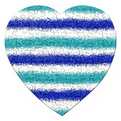 Metallic Blue Glitter Stripes Jigsaw Puzzle (Heart)