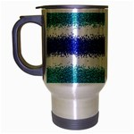 Metallic Blue Glitter Stripes Travel Mug (Silver Gray) Left