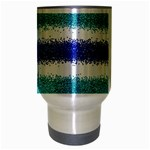 Metallic Blue Glitter Stripes Travel Mug (Silver Gray) Center