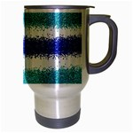 Metallic Blue Glitter Stripes Travel Mug (Silver Gray) Right