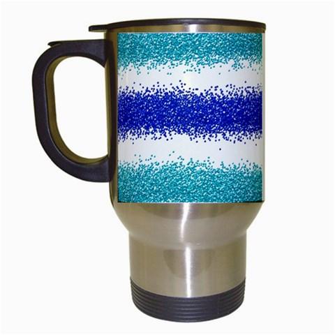 Metallic Blue Glitter Stripes Travel Mugs (White)