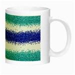 Metallic Blue Glitter Stripes Night Luminous Mugs Right