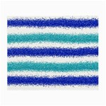 Metallic Blue Glitter Stripes Small Glasses Cloth Front