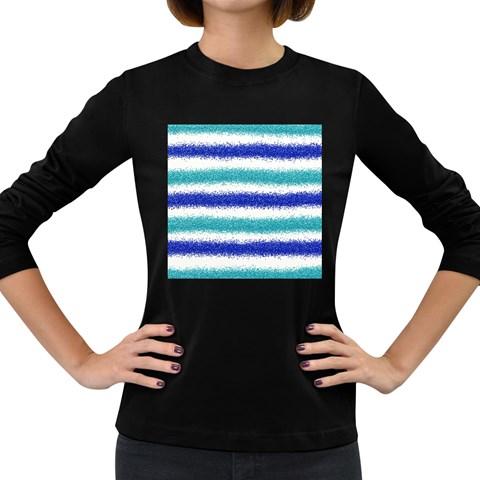 Metallic Blue Glitter Stripes Women s Long Sleeve Dark T-Shirts