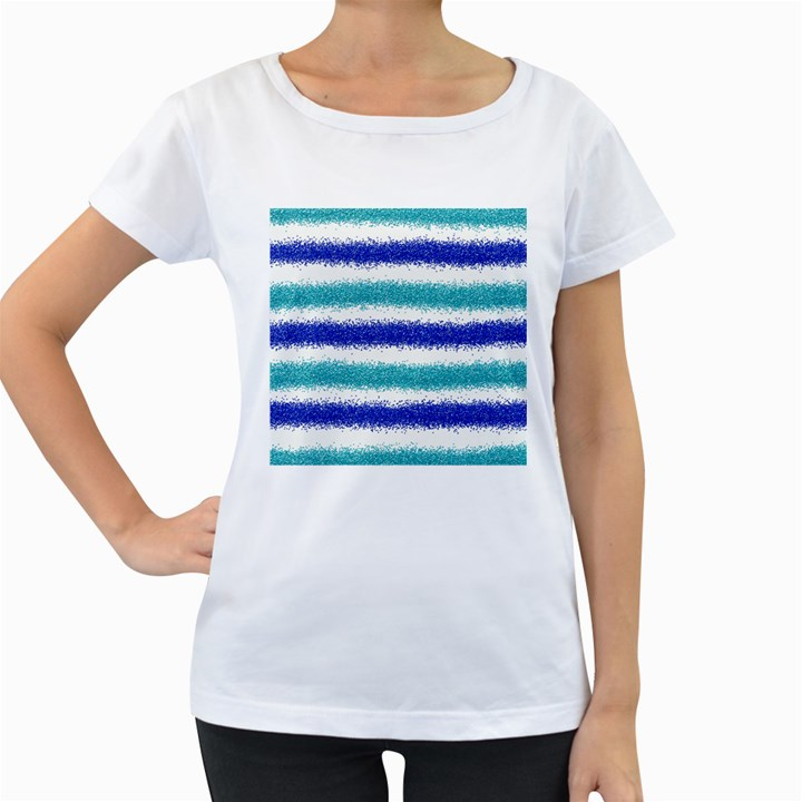 Metallic Blue Glitter Stripes Women s Loose-Fit T-Shirt (White)
