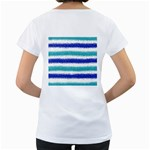 Metallic Blue Glitter Stripes Women s Loose-Fit T-Shirt (White) Back