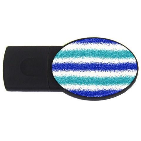 Metallic Blue Glitter Stripes USB Flash Drive Oval (4 GB)