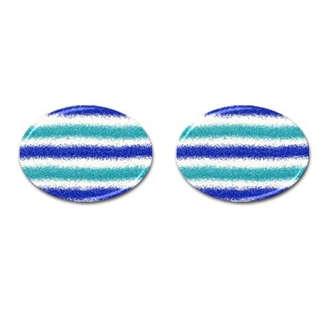 Metallic Blue Glitter Stripes Cufflinks (Oval)