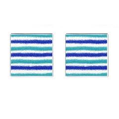 Metallic Blue Glitter Stripes Cufflinks (Square)