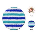 Metallic Blue Glitter Stripes Playing Cards (Round)  Front