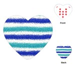 Metallic Blue Glitter Stripes Playing Cards (Heart)  Front