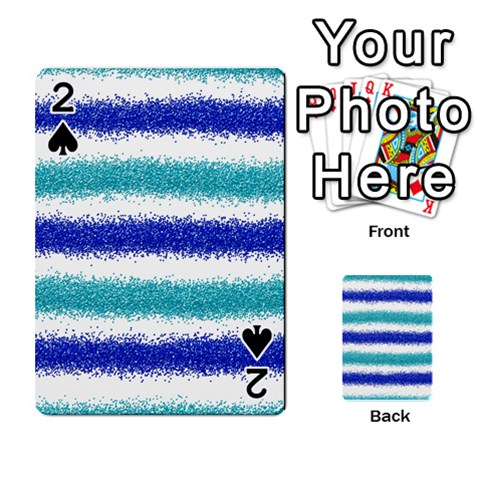 Metallic Blue Glitter Stripes Playing Cards 54 Designs