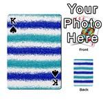 Metallic Blue Glitter Stripes Playing Cards 54 Designs  Front - SpadeK