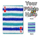 Metallic Blue Glitter Stripes Playing Cards 54 Designs  Front - Heart5