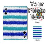 Metallic Blue Glitter Stripes Playing Cards 54 Designs  Front - Spade4
