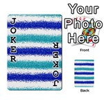 Metallic Blue Glitter Stripes Playing Cards 54 Designs  Front - Joker1
