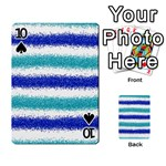 Metallic Blue Glitter Stripes Playing Cards 54 Designs  Front - Spade10